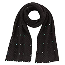 Baby Alpaca - Knitted scarf with sequins 100% baby alpaca wool - black, One size