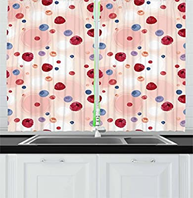 Gentil Amazon.com: Peach Kitchen Curtains By Ambesonne, Raspberries Blueberries  Cranberries Food Themed Design With Abstract Circle Backdrop, Window Drapes  2 Panel ...