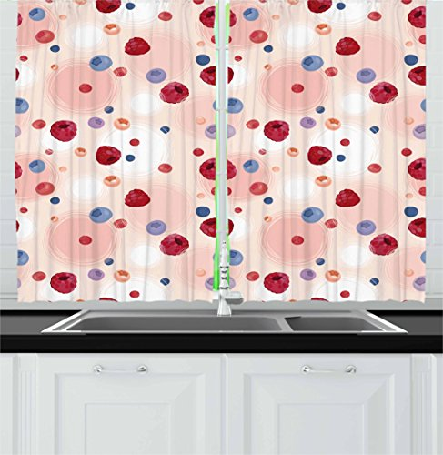 ... Peach Kitchen Curtains By Ambesonne, Raspberries Blueberries  Cranberries Food Themed Design With Abstract Circle Backdrop