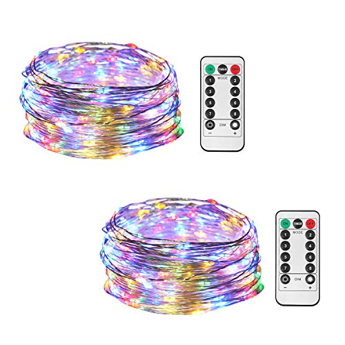HONGM 2 Pack 100 LED 32.8ft 8 Modes Remote Control Battery Operated Waterproof Dimmable Fairy String Copper Wire Lights for Wedding, Bedroom, Patio, Party, Christmas, (Multicolor 2 Pack)