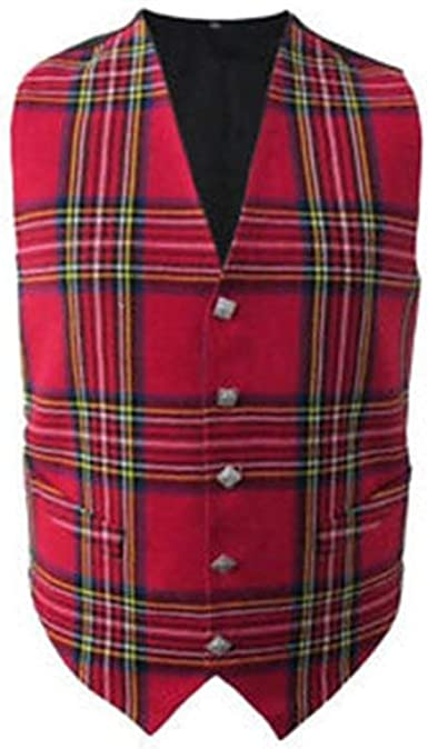 New Mens Scottish Tartan Waistcoat with Thistle Buttons in Choice of 4 Tartans
