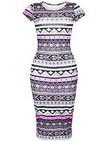 Ninimour Womens Short Sleeve Aztec Print Bodycon Dress