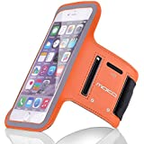 """iPhone 6 Plus / iPhone 6s Plus / iPhone 7 Plus Armband, MoKo Sports Running Armband with Key & Card Slot, Waterproof, Perfectly for Hiking, Biking, Walking, ORANGE (Fits Cellphones up to 6.0"""")"""