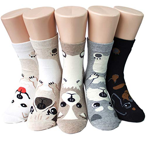 Cute Puppy Dogs Women's Socks 5pairs(5color)=1pack Made in Korea