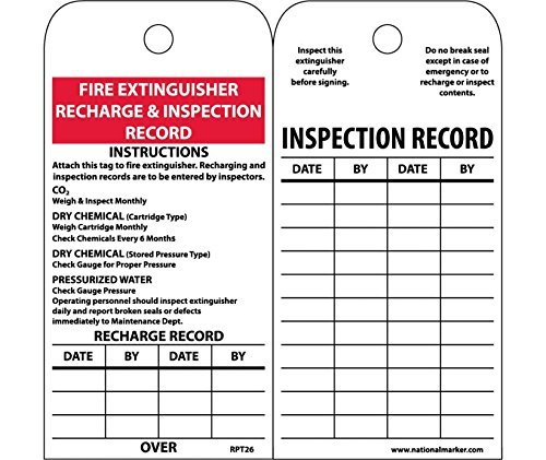 Recharge Fire Extinguisher (National Marker Corp. RPT26ST Tags, Fire Extinguisher Recharge And Inspection, 6 Inch X 3 Inch, Synthetic Paper, 25/Pk (Hole) by National Marker)