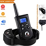 Paipaitek Dog Training Collar 1500 FT Remote Range Rechargeable Waterproof 100 Levels Shock Vibration 1 Dog Blue Screen Shake Pet Bark Stop Collar Trainer E-Collar Pet Dog No Bark Collar Bark Stopper