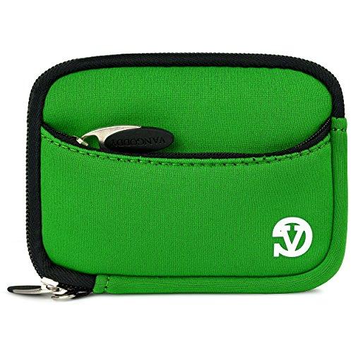 VanGoddy Mini Glove Sleeve Pouch Case for Fujifilm FinePix Point & Shoot Digital Cameras (Green Black Trim)
