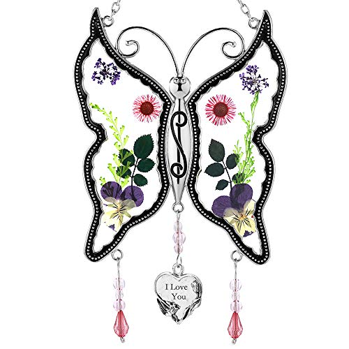 I LOVE YOU New Butterfly Suncatchers Gifts for Mother Pressed Flower Between Wings Glass for Window Silver Metal Engraved Charm as Mother#039s Valentine#039s Day Day Mom Birthday Gifts from Daughter