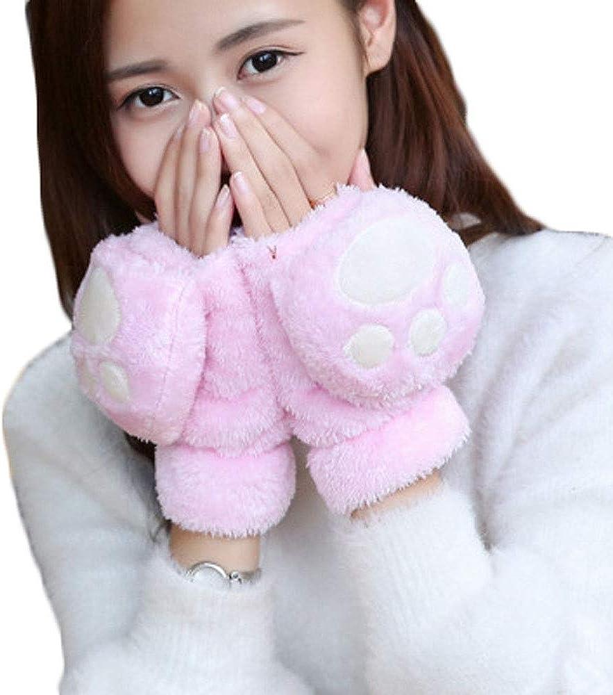 Women Girls Winter Warm Fingerless Texting Gloves Kitten Cat Paw Claw Plush Gloves With Mitten Cover