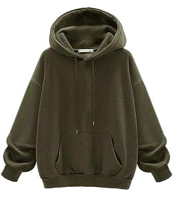 c0de6d0054ffa Cromoncent Womens Casual Plus Size Fleece Sport Hooded Pullover Sweatshirt  at Amazon Women s Clothing store