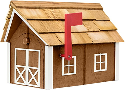 Horse Residential Post Mount - Painted Amish Mailbox with Cedar Roof and Windows & Door Trim (Chestnut with White Trim)