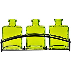 "Couronne Company M443-200-01 Rio Three Recycled Glass Vases & Metal Stand, 4 3/4"", Lime, 1 Piece"