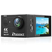 Prograce Action Camera Underwater Waterproof Video Sports Camera Camcorder 4K 30fps 1080P 60fps WiFi Full HD Digital Camera for YouTube with Remote Control and Accessories Kit 12MP 170° Wide Angle