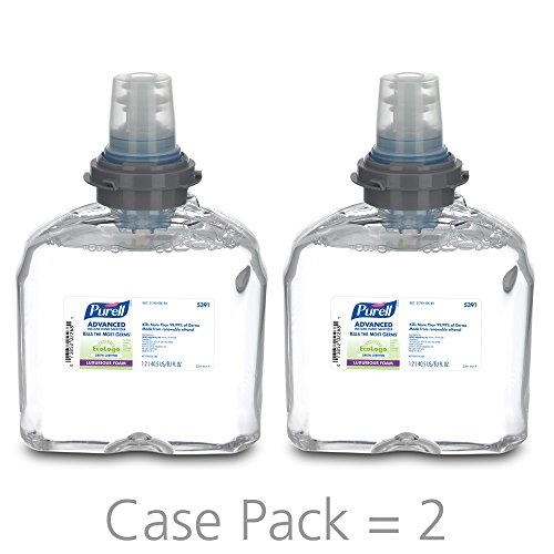 PURELL Advanced Green Certified Instant Hand Sanitizer Foam, 1200 mL Hand Sanitizer Foam Refill for PURELL TFX Touch-Free Dispenser (Pack of 2) - 5391-02