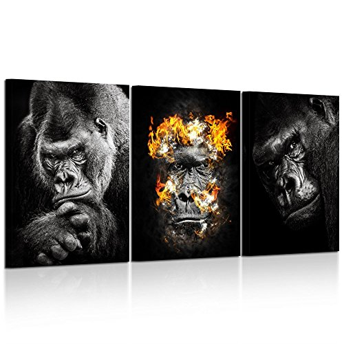 - Kreative Arts 3 Pieces Canvas Prints Western Lowland Gorilla Black White Animals Poster Art Prints Picture Printed on Canvas Framed and Stretched Ready to Hang for Office Wall Decor 16x24inchx3pcs