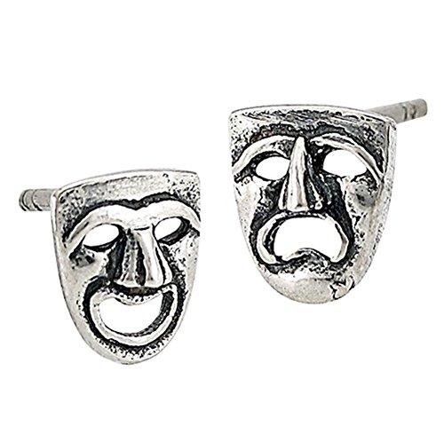 Earrings Tragedy Comedy (Tragedy Comedy Theatre .925 Sterling Silver Arts Stud Oxidized Stud Earrings)