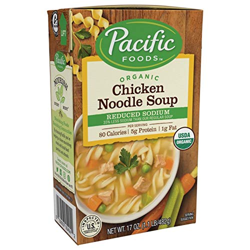 Pacific Foods Organic Soup, Reduced Sodium Chicken Noodle, 17 Ounce (Pack of 12)