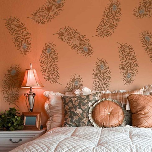 Peacock Feather Grande Wall Art Stencil - Size SMALL - Wall Stencils for Cheap Room Makeover - By Cutting Edge Stencils by Cutting Edge Stencils