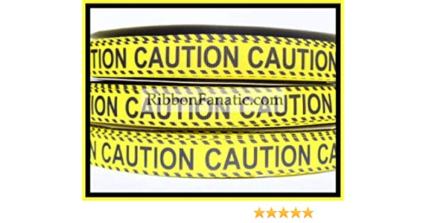 "USA Seller 3 Yards 7//8/"" Caution inspired Grosgrain Ribbon"