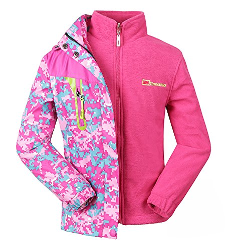 Roseate Sportswear Girl's 3-in-1 Jacket Winter Fleece Liner Waterproof Pink 8
