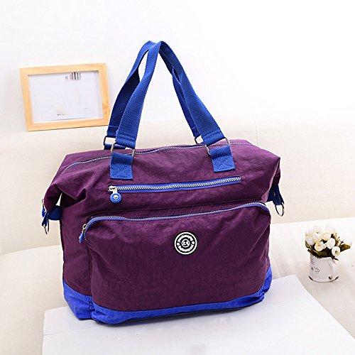 Bolso de madre impermeable de gran capacidad multifuncional, bolso de la momia, bolso portable ligero del bebé de la madre del hombro ( Color : Purple ) Morado oscuro