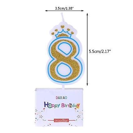 Chiic Vela – Corona de purpurina para tartas de cumpleaños con números 0 a 9, ideal como accesorio de cumpleaños PK 4