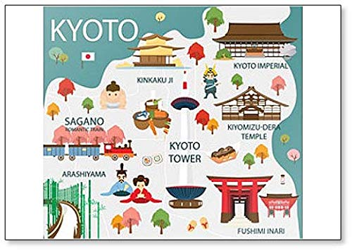 Map Of Kyoto Attractions Illustration Classic Fridge Magnet (Taipei Best Places To Visit)