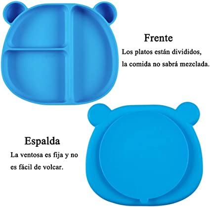 Plato de Grado Alimenticio para Aprendizaje Alimentaci/ón Independiente #1 Bverionant Plato Silicona con Ventosa para Beb/és y Ni/ños