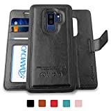 AMOVO Galaxy S9 Plus Case [2 in 1], Samsung Galaxy S9 Plus Wallet Case [Detachable Wallet Folio] [Premium Vegan Leather] Samsung S9 Plus Flip Case Cover with Gift Box Package (Black, S9+)