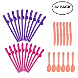 Bachelorette Party Drinking Straws,32PCS Bachelor Spoon Knife Drink Party Drinking Set for Party Supplies, for Girl's Night Out, Bridal Showers, Bachelorettes Parties.