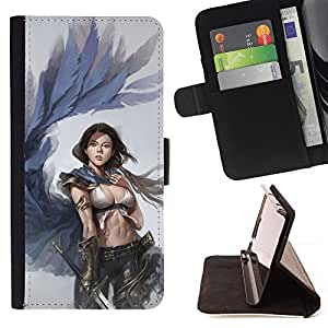 BullDog Case - FOR/Apple Iphone 4 / 4S / - / WINGS WOMAN ANGEL REVENGE ART SWORD /- Monedero de cuero de la PU Llevar cubierta de la caja con el ID Credit Card Slots Flip funda de cuer