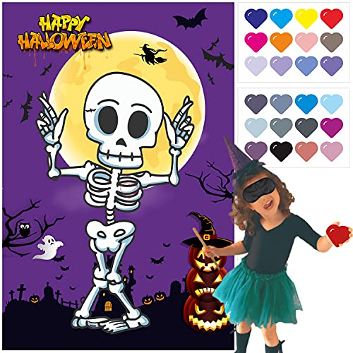 Sawowkuya Halloween Party Game for Kids, Pin The Heart On The Skeleton Halloween Game Party Activities Pin Game Party Favors for Kids