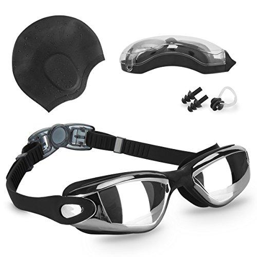 KUPEERS Swimming Goggles + Swim Cap Plus Ear Plugs Nose C...