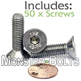 M8-1.25 x 30mm (FT) - Qty 50 - Stainless Steel Flat Head Socket Caps Screws Countersunk DIN 7991 - A2-70/18-8 - MonsterBolts