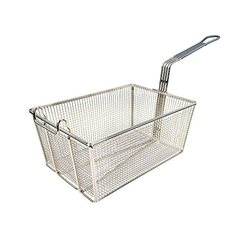 """Wincо FB-35 Nickel-Plated Fry Basket 13-3/8"""" with Gray Coated Handle"""