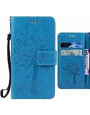 Fundas para Samsung Galaxy J3 (2016) J320F Carcasa, Ougger Tree Cat Printing Billetera PU Cuero Magnética Silicona Flip Protector Tapa Cover con Ranura para Tarjetas (Azul)