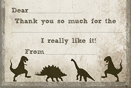 T-Rex Dinosaur Fill In Thank You Cards for Kids Birthday (10 Count with Envelopes) (Head T-rex)