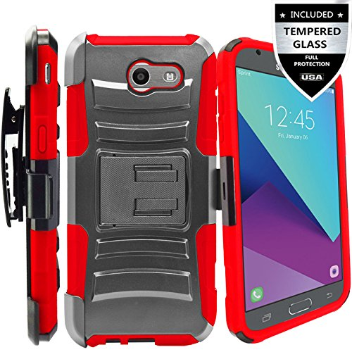Galaxy J7 V Case/Galaxy J7 Perx Case/Galaxy J7 Sky Pro/J7 Prime/Galaxy Halo/J7 2017 Case With Tempered Glass Screen Protector,IDEA LINE(TM) Combo Holster Kickstand Belt Clip - Red