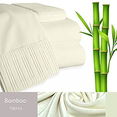 Bamboo Living Eco Friendly Egyptian Comfort Bedding 6 Piece Sheet Set (w/4 Pillowcases) (Queen, Ivory)