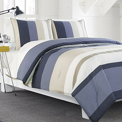 Nautica Grand Bank Duvet Cover Set, Blue/Tan, Striped, Twin