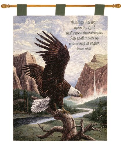 Manual Inspirational Collection 26 X 36-Inch Wall Hanging and Finial Rod, Freedom with Verse by Linda Picken, - Eagle Tapestry