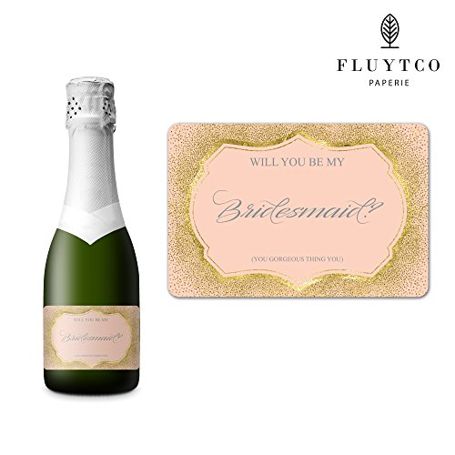 Will You Be My? - 20 Gold Pink Wedding Labels for Mini Champagne Bottle & Gift Box - Bridesmaid, Maid & Matron of Honor Proposal Gift- Engagement Party- Bridal Shower- Flower Girl - Ring bearer Perfect Pair Wedding Invitations