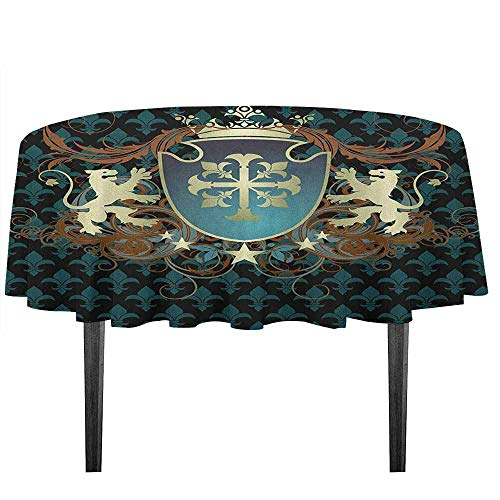 kangkaishi Medieval Washable Tablecloth Heraldic Design of a Middle Ages Coat of Arms Cross Crown Lions Swirls Desktop Protection pad D59.05 Inch Teal Black Cinnamon