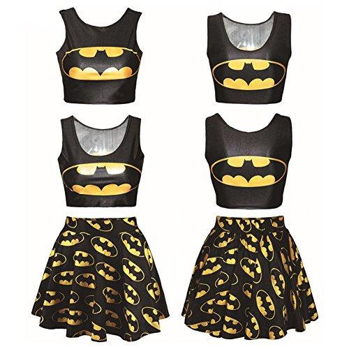 Lyck Women's 3D Batman Graphic Print Crop Tank Top and Mini Flared Skater Skirts Set for Teen Girls Black -