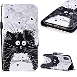 Cistor Wallet Case for iPhone X/XS,Fancy 3D Painting Magnetic Closure Flip Cover Shockproof PU Leather Stand Protective Case with Wrist Strap Card Slot for iPhone X/XS,Black White Cat