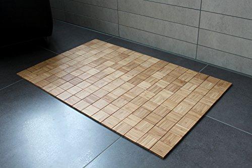 Badteppich Karos 40x50cm Massives Bambus Teppich Rutschfest Bambusmatte Badematte Bad Badezimmer Gaste Wc Wc Teppich Saunamatte Wc Vorleger Rutschhemmend Warmespeichernd Markenprodukt Von De Commerce Nachhaltig Und Okologisch