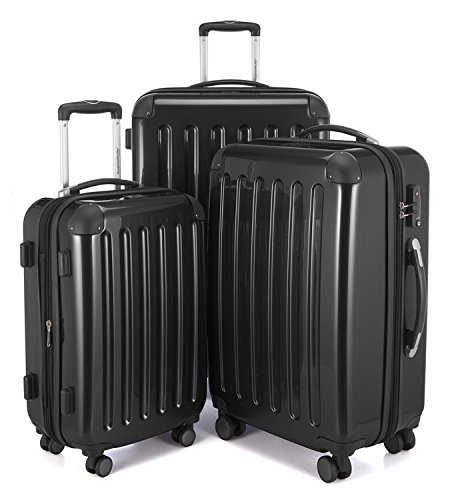 "HAUPTSTADTKOFFER Luggages Sets Glossy Suitcase Sets Hardside Spinner Trolley Expandable (20"", 24"" & 28"") TSA Black by Hauptstadtkoffer"
