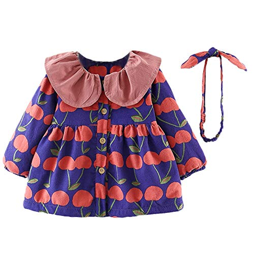 Baby Clothing Boys,Toddler Baby Girls Long Sleeves Fruits Print Lace Coat Dress+Headband Sets,Girls' ()