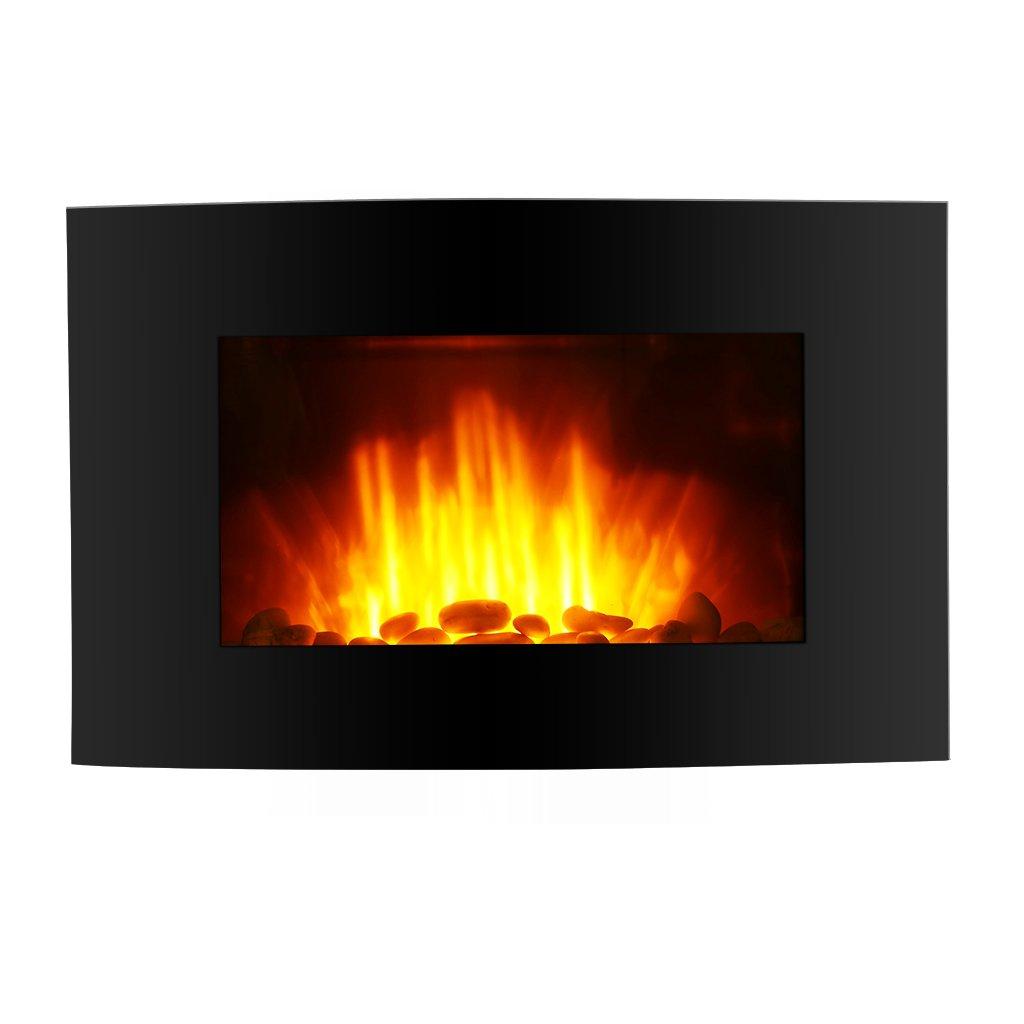Finether Wandkamin Elektrokamin LED elektrischer-Kamin Flammeneffekt-Kamin Dekokamin mit Heizlüfter und fernbedieung /2 Stufen: 1000W oder 2000W Leistung/ 7 farbige/ 5-stufige dimmbare Flamme schwarz