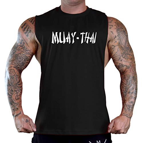 Men's Muay Thai Fighter V442 Black Sleeveless T-Shirt Tank Top – DiZiSports Store